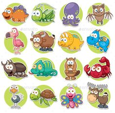 Buy Animals by SARAROOM on GraphicRiver. Vector illustration of Animals set Cartoon Diy Busy Books, Baby Animals, Cute Animals, Speech Therapy Games, Cute Little Kittens, Image Fun, Cartoon Images, Character Illustration, Diy Painting