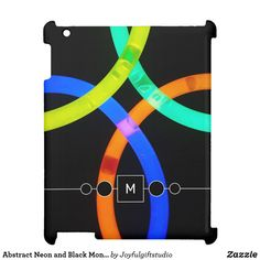 Abstract Neon and Black Monogram Trendy Case For The iPad Holiday Cards, Christmas Cards, Christmas Decorations, Neon Glow, Christmas Card Holders, Hand Sanitizer, Black Backgrounds, Simple Designs, Keep It Cleaner
