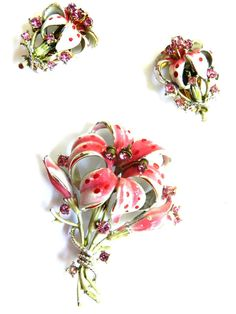Breathtaking Designer Vintage Rose and Pink Enamel Flower Brooch Must See