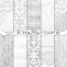 DIGITAL SCRAPBOOK PAPER:Gray Digital Paper, Wood and Lace Digital Paper, Gray Damask Digital Paper, Wedding Digital Paper, #14068 by BaerDesignStudio on Etsy