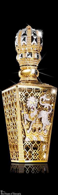 ~The World's most expensive perfume: Britain's Clive Christian No 1 Passant Guardant. 24 carat gold lattice-work, embedded in more than 2000 flawless diamonds. Available exclusively in the Salon de Parfums, Harrods, for £143,000 | House of Beccaria# - Turn around your jewelry buying experience! Read how at http://jewelrytipsnow.com/these-tips-can-turn-your-jewelry-experience-around/