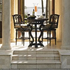 Kingstown Sedona 3 Piece Dining Pub Set with Cast Metal High/Low Bistro Table and Swivel Bar Stools by Tommy Bahama Outdoor Living - Baer's Furniture - Outdoor Pub Dining Set Miami, Ft. Lauderdale, Orlando, Sarasota, Naples, Ft. Myers, Florida