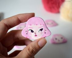 Handmade pink hair girl magnet or pin/brooch / Cute girl badge/ Handpainted girl Clay pin Clay Art Projects, Polymer Clay Projects, Polymer Clay Charms, Diy Clay, Polymer Clay Jewelry, Clay Crafts, Cute Clay, Sculpture Clay, Ceramic Clay