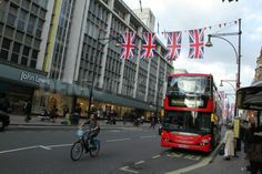 Union Jacks fly on Oxford Street to celebrate Great British Fashion