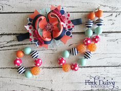 3-piece Set. Bow Necklace Bracelet. Coral by ThePinkDaisyBoutique