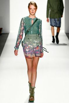 Timo Weiland Coastal Floral Keyhole Blouse Top as Seen on Runway