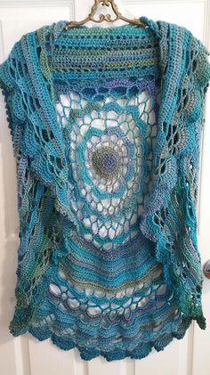 Crochet Dress Full Pattern and Tutorial - Craft & Patterns Crochet Circle Vest, Crochet Bolero, Gilet Crochet, Crochet Mandala Pattern, Crochet Circles, Crochet Shawls And Wraps, Crochet Jacket, Crochet Patterns, Crochet Vests
