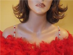 Decorative Bra Straps Red & White for Strapless Dresses-Item # 1017 - Rhinestone