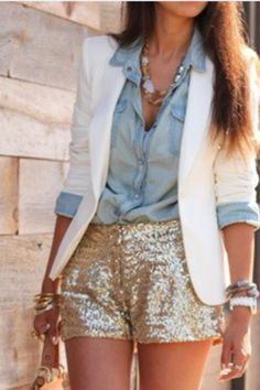glitter shorts, with blazer and jean shirt.