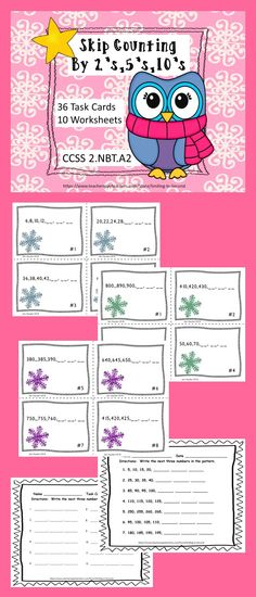Are you in need of ways to assess and have students practice skip- counting?  This is the product for you.  Included are 36 Task Cards  which are color coded.  Blue snowflakes are for counting by 2's.   Purple snowflakes are for counting by 5's.  Green snowflakes are for counting by 10's.  There are three worksheets for each.  Also  included is a task card recording page.