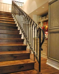 Love these stained wood stairs