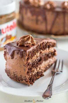 Tort Nutella Poke Cakes, Lava Cakes, Cupcake Cakes, Sweet Recipes, Cake Recipes, Dessert Recipes, Polish Desserts, Slovak Recipes, Custard Cake