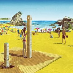 #beach #spain #santander #people #summer #swimsuites #girl #woman #travel #illustration #tatsurokiuchi #art