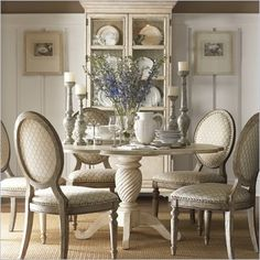 Love the scalloped edge top!!  Lexington Twilight Bay Barrett Dining Table in Antique Linen