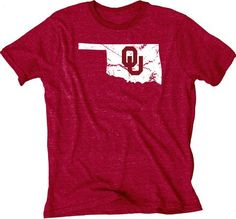 Shop Oklahoma Sooners Blue 84 Red State Outline Tri-Blend Short Sleeve T-Shirt