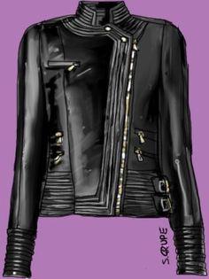 Gut für die Y-Figur: eine länger geschnittene Biker-Jacke, die deutliche Akzente an Hals, in der vorderen Torso-Mitte und an den Hüften sowi...