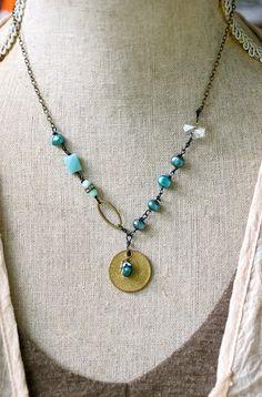 Libby. bohobeadedcharm necklace. Tiedupmemories by tiedupmemories, $42.00