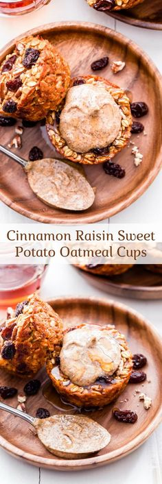 Cinnamon Raisin Sweet Potato Oatmeal Cups are perfectly portioned, freezer friendly and easy to make. Top them with almond butter for a healthy, quick and easy breakfast. #oatmeal #sweetpotato #cinnamonraisin #breakfast #glutenfree