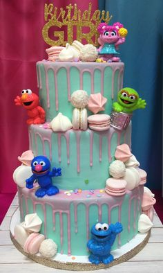 Girly Sesame Street birthday cake (mermaid birthday cake)