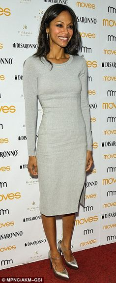 Back to her stylish best: Zoe Saldana is minimalist chic in fitted sweater dress after fashion fail at the Met Gala