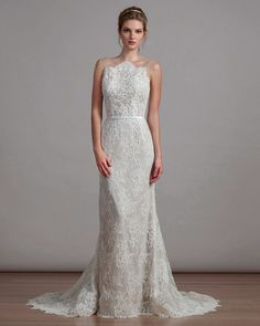 Liancarlo Spring 2018 Wedding Dress Collection | Martha Stewart Weddings – Style 6885, Chantilly fit and flare wedding dress with an illusion top and sculpted lace back