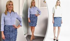 Holly Willoughby outfit - This Morning star flaunts tanned toned legs in 120 skirt