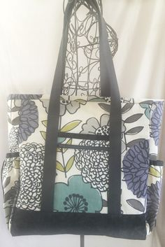 Yellow and Grey Large Tote Bag with Pockets, Kitchen Sink Tote ...