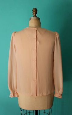 Vintage 80s Blush Pleated Bib Blouse / Origami by PulpVintageShop