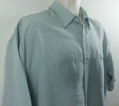 Clearwater Outfitters Mens Green Plaid Vented Fishing Shirt Extra Large XL