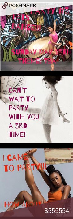 🎉PARTY #3 5/13/18 @ 7pm EST. Come Party with Me! Date: 5/13  Time: 7:00pm EST  Theme: TBA  Come Party with me!  Pls tag me or share your strongest items to my closet for Host Picks.  New closets or closets that have never had a Host Pick are especially welcome!!!  POSH COMPLIANT CLOSETS ONLY! Other