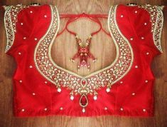 Intricate border Maggam work with pearls