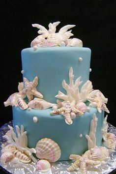 Two tier round Tiffany Blue beach wedding cake decorated with pearls and white seashells. from www.GlassSlipperGourmet.com
