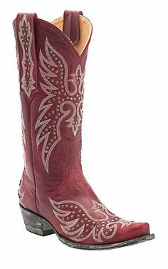 Old Gringo Ladies Red Distressed w/Fancy Silver Stitched Snip Toe Western Boots