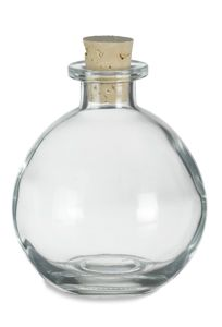 """Nakpunar Brand Spherical Clear Glass Bottle, 8.5 Oz. w/ Cork 3.5"""""""" wide x 4"""""""" high (without cork) Great for Vanilla Extract, Oils, Lotions, Homemade Salad Dressing, cosmetics, lotions, bath salts, for"""