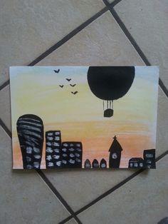 Painting> zonsondergang gemaakt met zacht pastelkrijt en zwarte silhouetten gemaakt met zwarte verf: Verven, tekenen, DIY, knutselen...