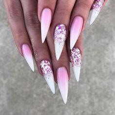 White ombré stiletto nails Rose glitter nail art design by MargaritasNailz #glitternails#hardgelnails#ombrenails#nails#stilettonails#MargaritasNailz#nailfashion#naildesign#nailswag#glitterombre#ValentinoMargaritasNailz#Valentinohardgel#chromenails#nailcandy#glamnails#nailaddict#teamvalentino#unicornnails#summernails#instagramnails#encapsulatednails#nailporn#nailsonfleek#fashionnails#glitterombrenails#modernsalon#hudabeauty#nails2inspire#whiteombrenails#pinkglitternails