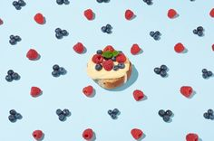 Ready your taste buds for a sweet treat of fresh berries and custard on a soft hot cross bun. Yum!