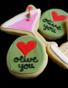 Olive You! / Martini and Olive Valentine Cookies