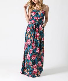 Teal Floral Strapless Maxi Dress
