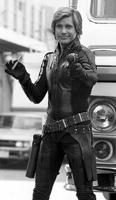 Dirk Benedict as Lt. Starbuck of the Battlestar Galactica.