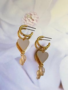 Gold plated hoop earrings with pearls Heart Earrings, Gold Earrings, Drop Earrings, Perfect Gift For Her, Gifts For Her, Real Pearls, Minimalist Necklace, Crystal Pendant, Pearl Jewelry