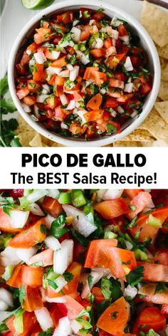 Pico de Gallo (the BEST Salsa Recipe!) Pico de Gallo is an authentic Mexican chunky salsa recipe that's simple to make at home with fresh ingredients found at any grocery store. It's delicious, addictive and has a spicy kick. Authentic Mexican Recipes, Mexican Salsa Recipes, Spicy Salsa Recipes, Authentic Salsa Recipe, Shrimp Taco Recipes, Authentic Food, Mexican Appetizers, Vegetarian Recipes, Cooking Recipes