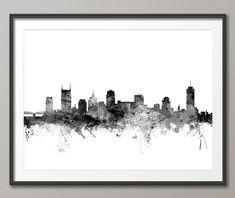 Nashville Wall Art nashville skyline - nashville tennessee cityscape wall art print