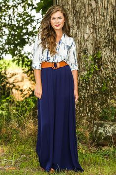 Moonlit Nights Maxi Skirt-Navy | The Red Dress Boutique