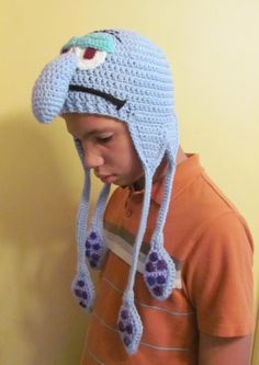 Squidward Tentacles Crocheted Earflap Hat - not sure who is more sad, the kid or squidward ;)