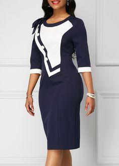 Zipper Back Bowknot Shoulder Navy Dress Office Dresses For Women, Elegant Dresses For Women, Clothes For Women, African Fashion Dresses, African Dress, Fashion Outfits, Navy Prom Dresses, Navy Dress, Cheap Dresses Online