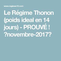 Le Régime Thonon (poids ideal en 14 jours) - PROUVÉ ! 【novembre-2017】