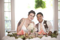 Tattooed lakeside wedding