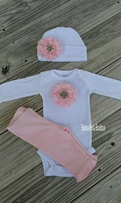 Newborn Outfit Baby Girl Take Home Outfit Pink And White Going Home
