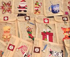 Envie Advent Swap - Picture 1 of 3   I made envelopes out of…   Flickr Sheet Music Crafts, January Crafts, How To Make An Envelope, Programming For Kids, Book Pages, Just For Fun, Christmas Crafts, Christmas Ideas, Advent